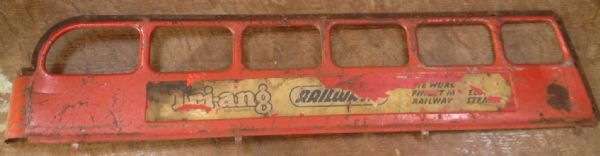 Original Tri-ang / Triang Large pressed steel Double decker Top Right hand side panel Red [ price is per panel ]